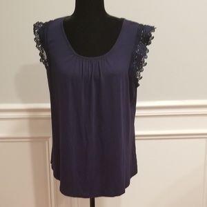 Lace Sleeve Flare Shirt
